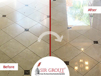 Stone Polishing Job In Chandler AZ Brought Back The Shine Of This Dull Marble Floor