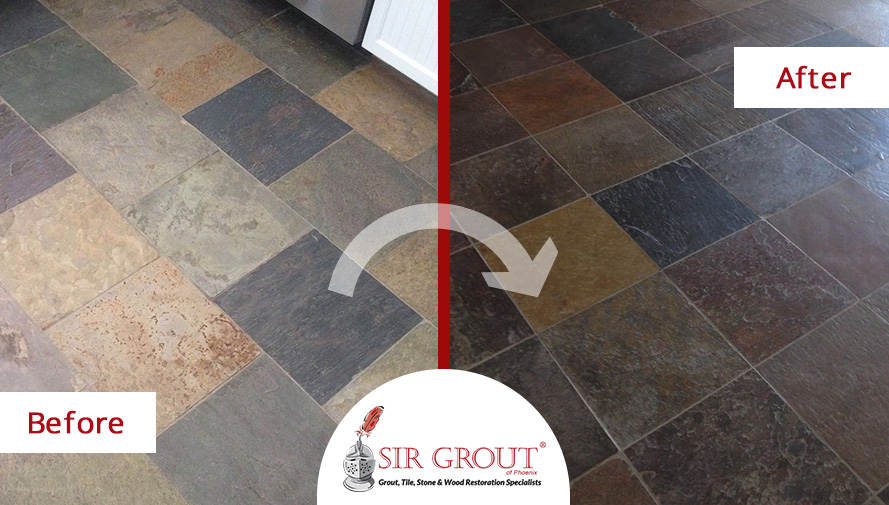 Before and After Picture of a Stone Sealing in Scottsdale, Arizona