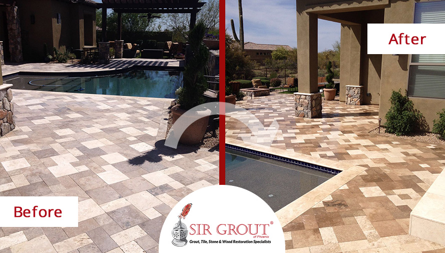 Before and After Pictures of a Stone Sealing in a Pool Area in Scottsdale, Arizona