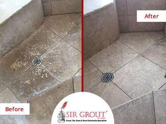 Before and After Picture of Travertine Floor Completely Renovated After a Tile Cleaning service in Scottsdale.