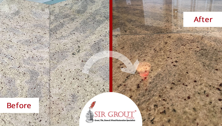 Before And After Picture Of A Stone Sealing Service In Mesa, AZ