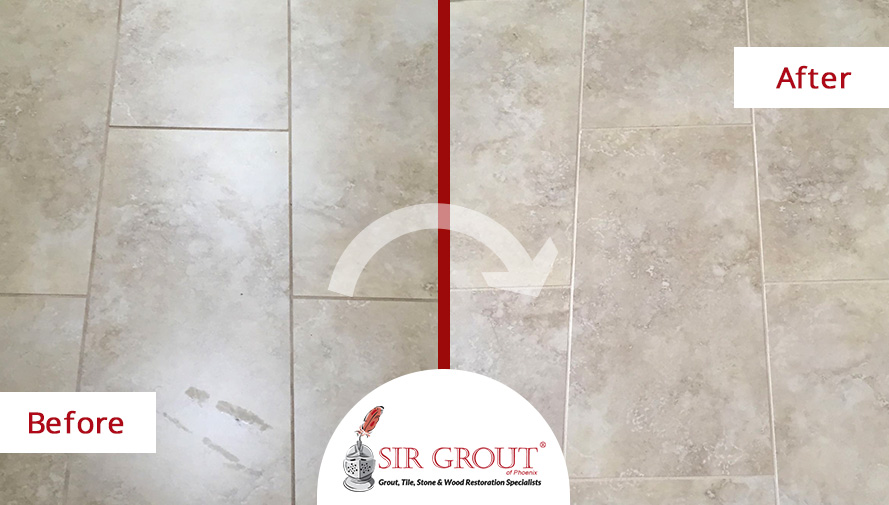 Before and After Picture of a Tile Grout Cleaning and Recoloring Service in Phoenix