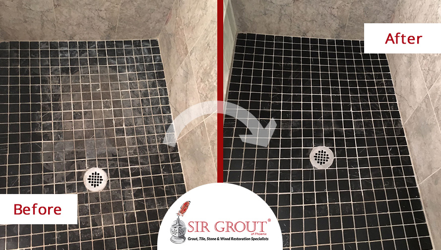 Before and After Picture of a Marble Shower Stone Cleaning Service in Tempe, Arizona