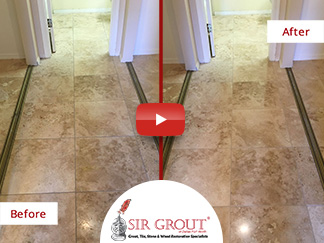 Before and After Picture of a Travertine Stone Cleaning Service in Mesa, Arizona