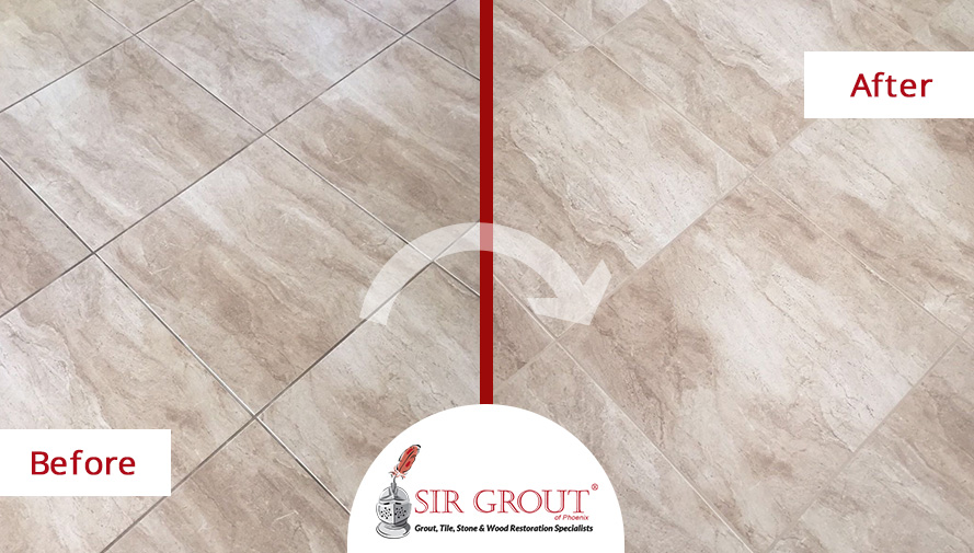 Before and After Picture of a Grout Cleaning Service in Scottsdale, AZ