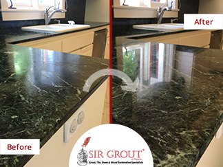 Damaged Serpentine? These Homeowners Had Sir Grout Recover Its Beauty With  A Honing And Polishing Service In Phoenix AZ