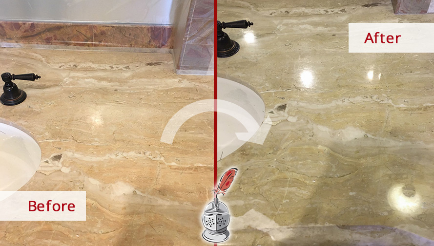 Before and After Picture of a Vanity Top Stone Honing and Polishing Service in Scottsdale, AZ