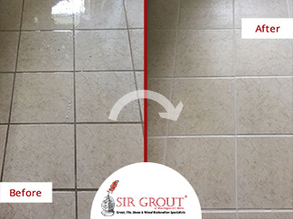 Before and After Picture of a Kitchen Floor Grout Cleaning Service in Chandler, Arizona