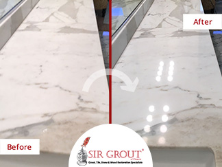 Before and after picture of a Marble Countertop Honing and Polishing in Phoenix, Arizona