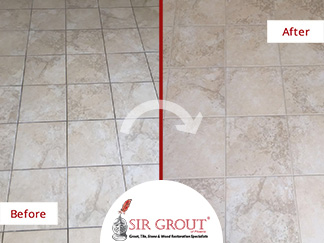 Before and After Picture of a Grout Cleaning in Chandler, Arizona