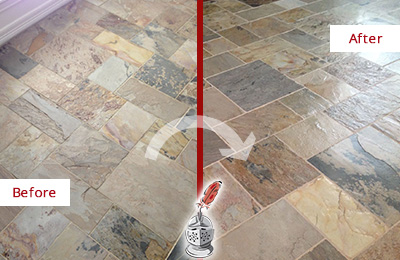 Before and After Picture of a Unsealed Slate Floor Cleaned and Sealed to Restore Its Sheen