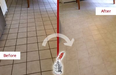 Before and After Picture of a Tempe Kitchen Tile and Grout Cleaned to Remove Embedded Dirt