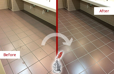 Before and After Picture of a Mesa Restrooms Tile and Grout Cleaned to Remove Embedded Dirt