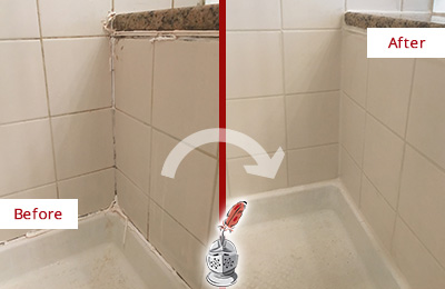 Before and After Picture of a Gilbert Shower Caulked to Repair Damaged Caulking
