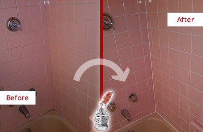 Before and After Picture of a Gilbert Bathtub Caulked to Eliminate Mold