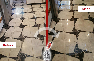 Before and After Picture of a Dull Cave Creek Marble Stone Floor Polished To Recover Its Luster