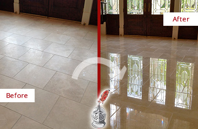 Before and After Picture of a Dull Cave Creek Travertine Stone Floor Polished to Recover Its Gloss