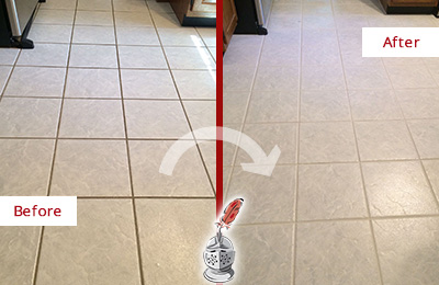 Before and After Picture of a Gilbert Kitchen Ceramic Floor Sealed to Protect From Dirt and Spills