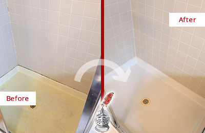 Before and After Picture of a Gilbert Shower Sealed to Remove and Protect Against Mold