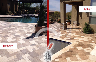 Before and After Picture of a Dull Cave Creek Travertine Pool Deck Cleaned to Recover Its Original Colors