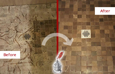 Before and After Picture of a Stained Cave Creek Marble Shower Floor Cleaned to Remove Etching