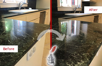Before and After Picture of a Phoenix Marble Kitchen Countertop Honed to Remove Water Marks