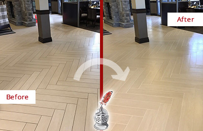 Before and After Picture of a Mesa Hard Surface Restoration Service on an Office Lobby Tile Floor to Remove Embedded Dirt