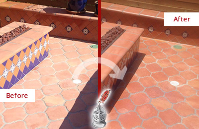 Before and After Picture of a Tempe Hard Surface Restoration Service on a Dull Terracotta Patio Floor to Recover Its Color