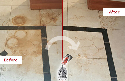 Before and After Picture of a Mesa Hard Surface Restoration Service on a Marble Floor to Eliminate Rust Stains