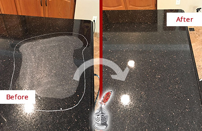 Before and After Picture of a Mesa Hard Surface Restoration Service on a Granite Countertop to Remove Scratches