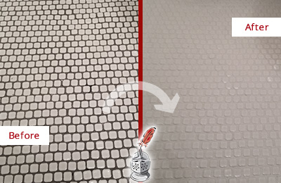 Before and After Picture of a Tempe Hard Surface Restoration Service on a Bathroom Tile Floor Recolored to Fix Grout Color