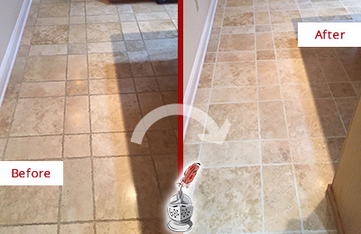 Before and After Picture of a Paradise Valley Travertine Kitchen Floor Recolored Grout