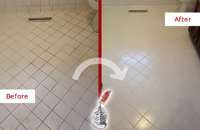 Before and After Picture of a Chandler White Bathroom Floor Grout Sealed for Extra Protection