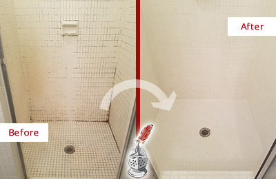 Before and After Picture of a Chandler Bathroom Grout Sealed to Remove Mold