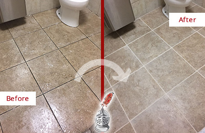 Before and After Picture of a Phoenix Restroom Floor Cleaned to Eliminate Dirt