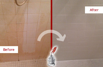 Before and After Picture of a Phoenix Porcelaine Shower Cleaned to Remove Soap Scum