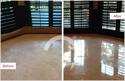 Sir Grout Phoenix Tan Marble Stone Honing and Polishing