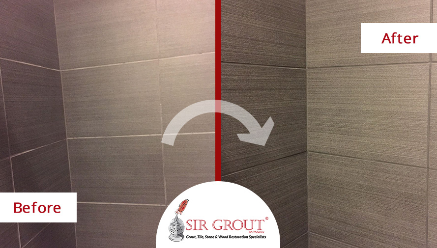 Before and After Picture of a Grout Recoloring Service in Scottsdale, AZ