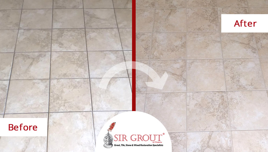 Before and After Pictures of a Grout Cleaning Service in this Phoenix Home