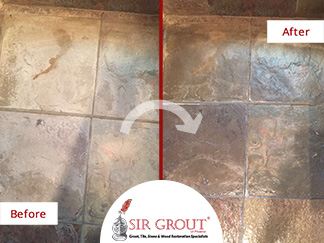 Before and After Pictures of a Slate Bathroom in Tempe, Arizona