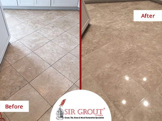 Before and After Picture of a Stone Polishing Service in Scottsdale, AZ