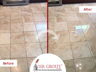 Before and After Picture of a Floor Stone Polishing Service in Phoenix