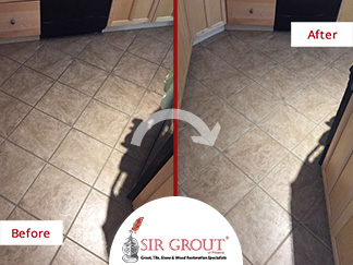 Before and After Picture of a Floor Grout Cleaning Service in Scottsdale, AZ