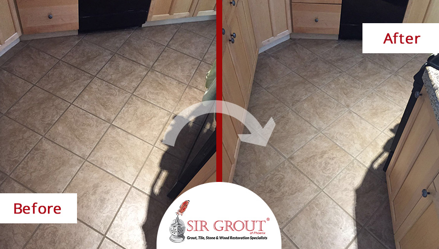 A Grout Cleaning Service in Scottsdale AZ Gave This Kitchen Floor a ...