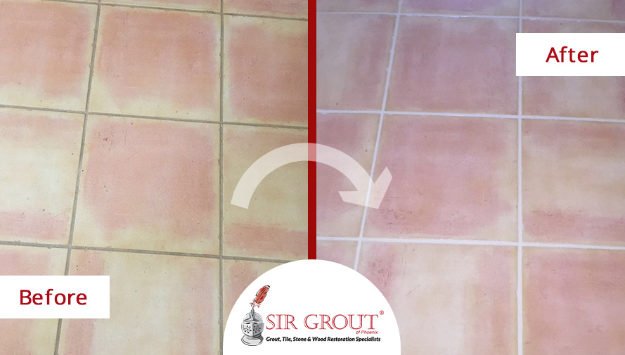 Before and After Picture of a Grout Cleaning Service in Chandler, AZ