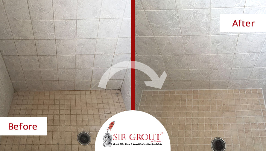 Before and After Picture of a Shower's Grout Cleaning in Mesa, Arizona