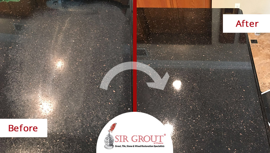 Before And After Picture Of A Stone Honing Service On Granite Countertop In Tempe Arizona