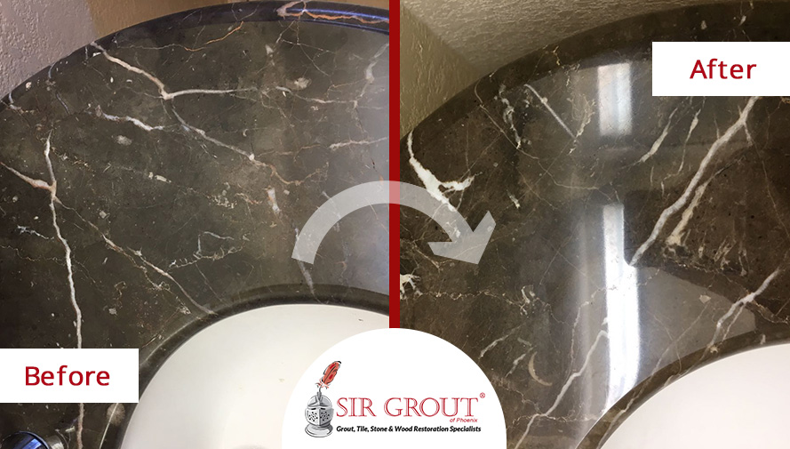 Before and After Picture of a Marble Vanity Top Stone Polishing Service in Mesa, Arizona