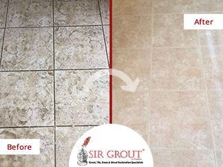 Before and After Picture of Our Tile and Grout Cleaners in Tempe, AZ