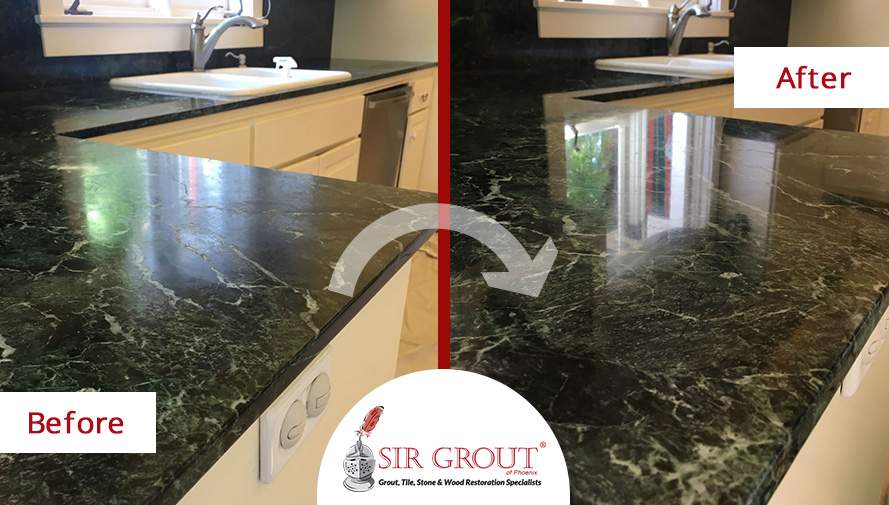 Before and After Picture of a Serpentine Marble Countertop Stone Polishing Service in Phoenix, Arizona
